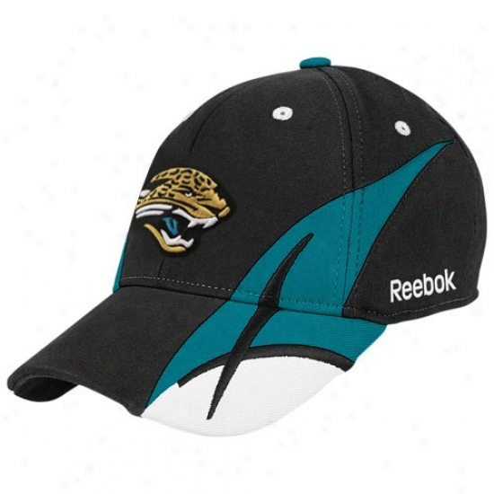Jacksonville Jaguar Hats : Reebok Jacksonville Jaguar Black Pitchfork Flex Fit Hats
