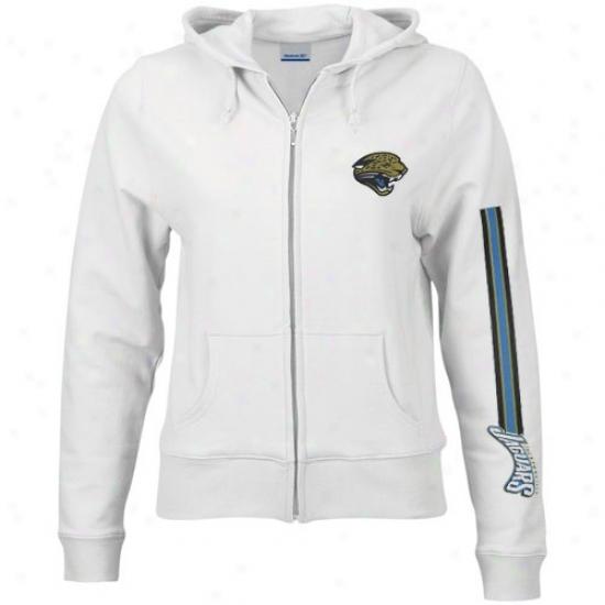 Jacksonville Jaguar Hoody : Reebok Jacksonville Jaguar Ladies Wjite Active Full Zip Hoody Jacket