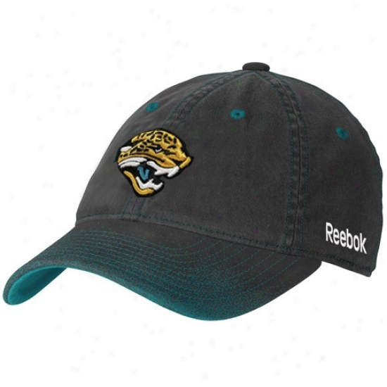 Jacksonville Jaguar Merchandise: Reebok Jacksonville Jaguar Ladies Black 2ne Season Fadeout Flex Fit Hat