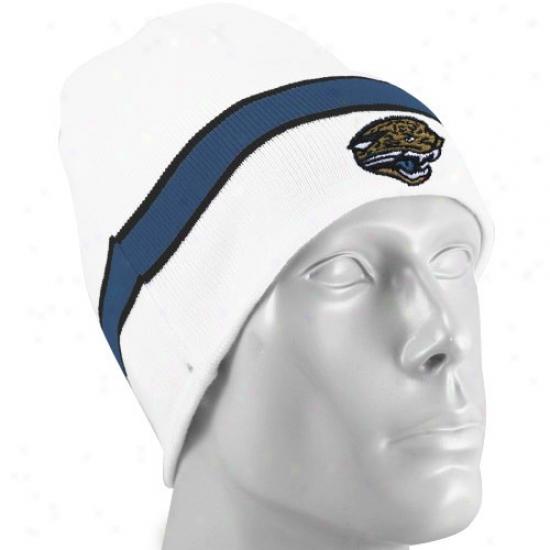 Jacksonville Jaguar Merchandise: Reebok Jacksonville Jaguar White Cuffleess Knit Beanie Cap