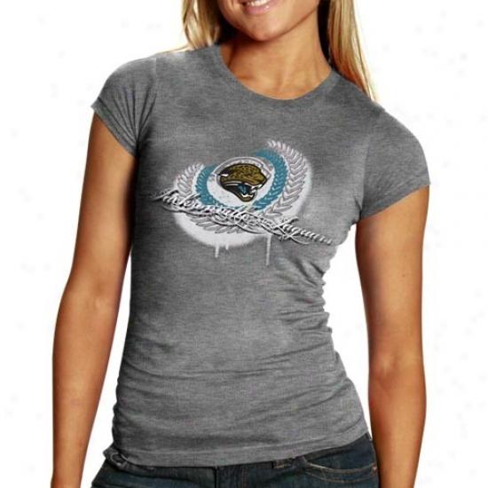 Jacksonville Jaguar Shirt : Jacksonville Jaguar Ladies Ash Fresh Paint Premium Tri-blend Shirt
