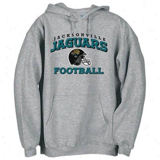 Jacksonville Jaguar Stuff: Reebok Jacksonville Jaguar Ash Stacked Helmeg Hoody Sweatshirt