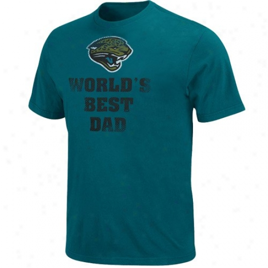 Jacksonville Jaguar T Shirt : Jacksonville Jaguar Teal World's Best Dad T Shirt