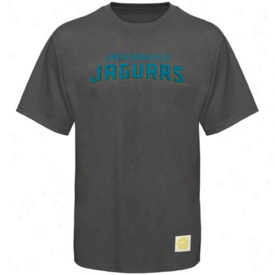 Jacksonville Jaguar T-shirt : Reebok Jacksonville Jaguwr Charcoal Distressed Wordmark T-shirt