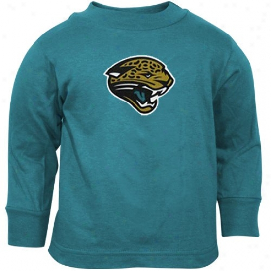 Jacksonville Jaguar T-shirt : Reebok Jacksonville Jaguar Toddler Teal Primary Logo Long Sleeve T-shirt