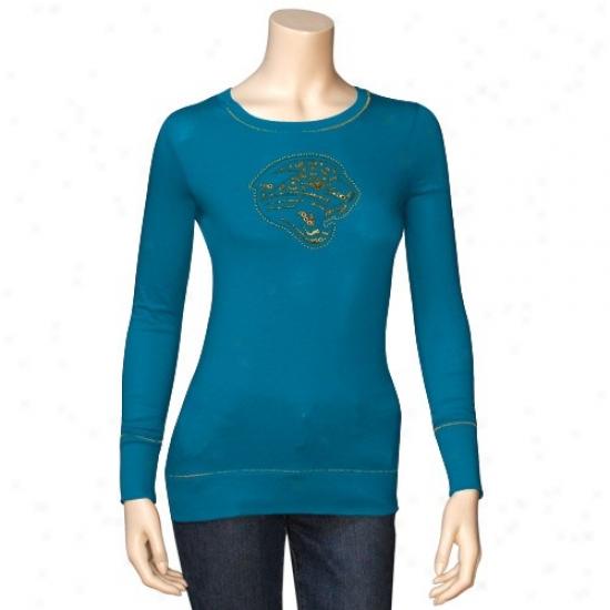 Jacksonville Jaguar Tee : Jacksonville Jaguar Ladies Teal Bling Diva Ling Sleeve Tee