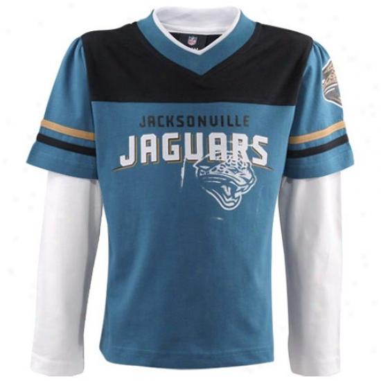Jacksonvikle Jaguar Tee : Reebok Jacksonville Jaguar Youth Girls Teal Statement 3/4 Sleeve Tee