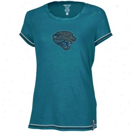Jacksonville Jaguar Tees : Reebok Jacksonvile Jwguar Ladies Teal Rhinestar Fabric Tees