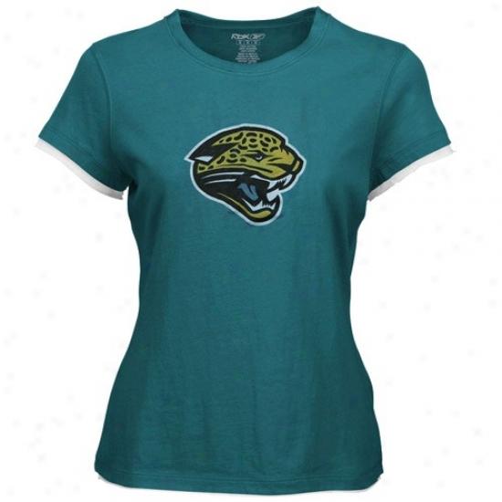 Jacksonville Jaguar Tees : Reebok Jacksonville Jaguar Teal Ladies Classic Logo Too Tees