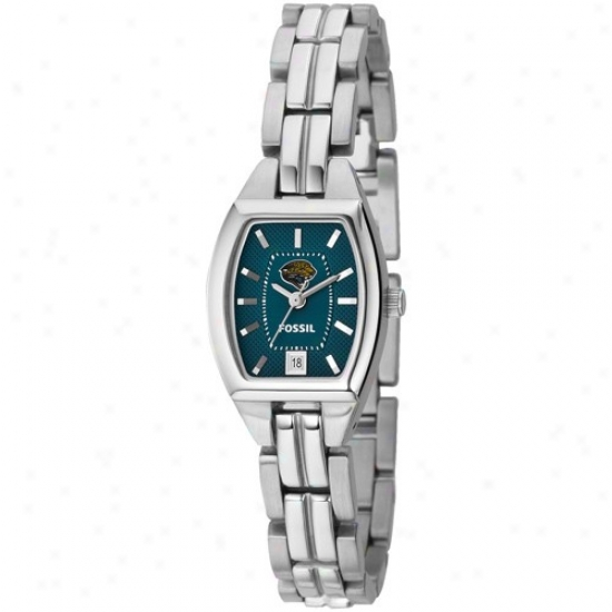 Jacksonville Jaguar Watches : Fossil Jacksonville Jaguar Ladies Stainless Case-harden Analog Cushio nWatches