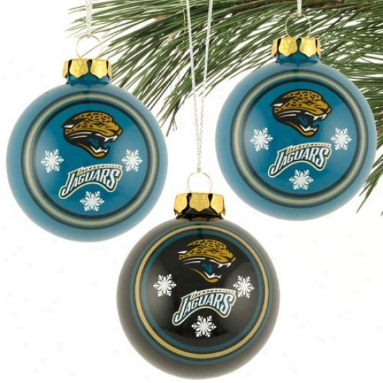 Jacksonville Jaguwrs 3 Pack Glass Ball Ornaments