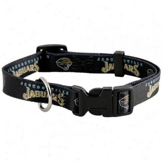 Jacksonville Jaguars Black Adjustable Dog Collar