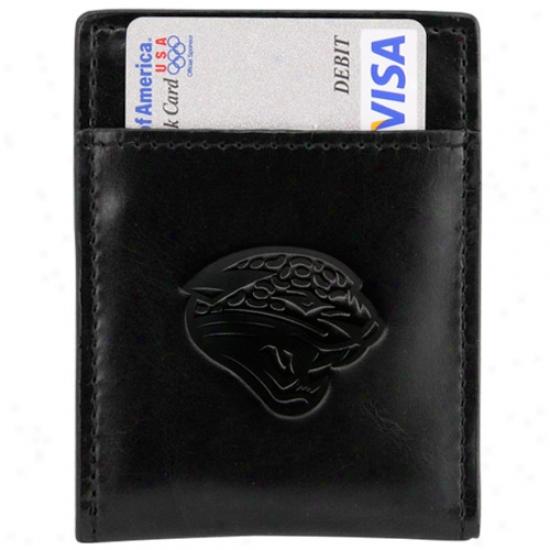 Jacksonville Jaguars Black Leather Card Holder & Money Clip