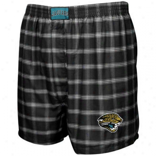 Jacksonville Jaguars Black Plaid Nfl Cover Pajama Shorts