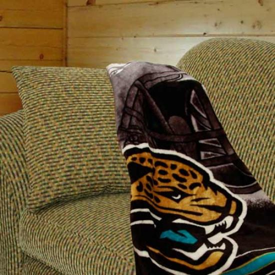 Jacksonville Jaguars Bladk Tonal Helmet Plush Royal Blanket Throw