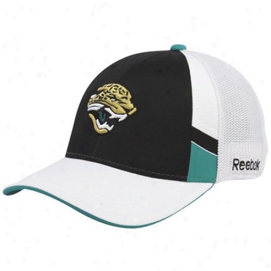 Jacksonville Jaguars Hats : Reebok Jacksonville Jaguars Black-white Structured Mesh Backward Flex Fit Hats