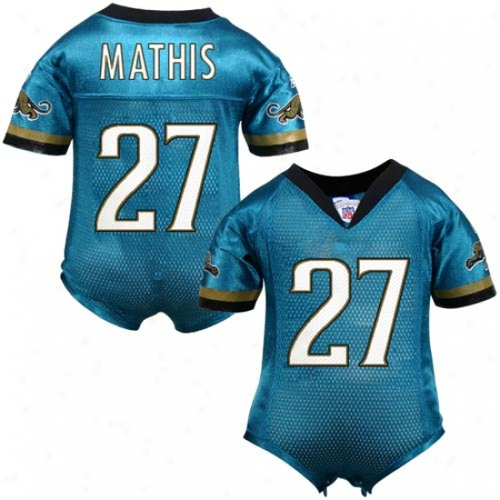 Jacksonville Jaguars Jerseys : Reebok Nfl Accoutrement Jacksonville Jaguars #27 Rashean Mathis Teal Infant One-piece Autograph copy Football Jerseys