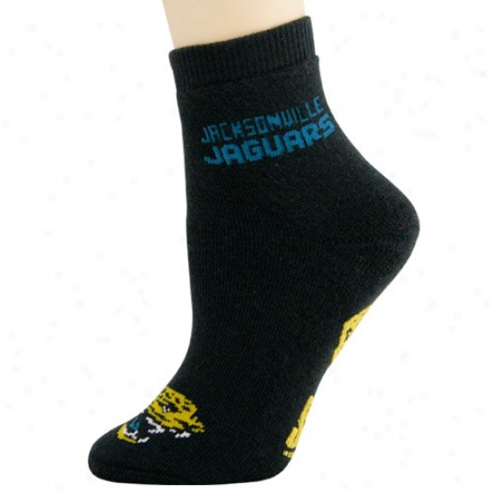 Jacksonville Jaguars Ladiss Negro Slipper Socks