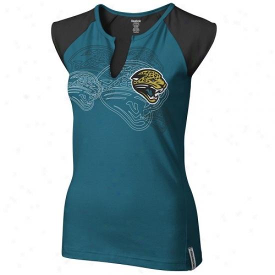 Jacksonville Jaguars Shirts : Reebok Jacksonville Jaguars Ladies Teal High Pitch Split Neck Premium Shirts
