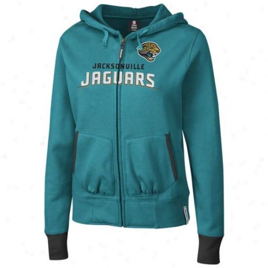 Jacksonville Jaguars Stuff: Reebok Jacksonville Jaguars Ladiee Teal Chant Full Zip Hoody Sweatshirt