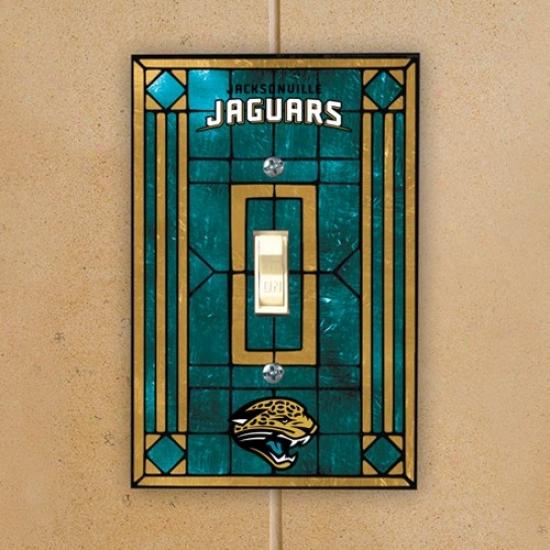 Jacksonvikle Jaguars Teal Art-glass Switch Plate Cover