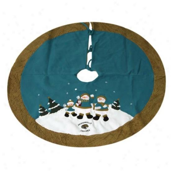 Jacksonville Jaguars Teal Snowman Tree Skirt