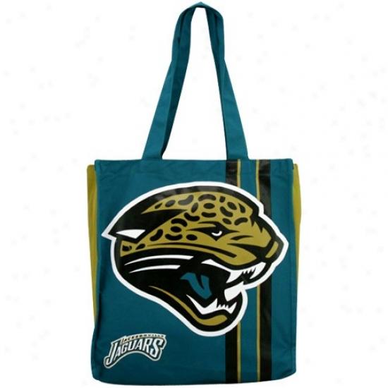 Jacksonville Jaguars Teal Team Stripe Canvas Tote