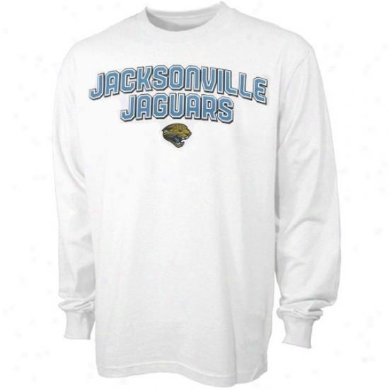 Jacksonville Jaguars Tees : Reebok Jacksonville Jaguars White Double Arch Long Sleeve Tees