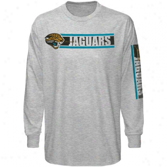 Jacksonville Jaguars Tees : Reebok Jacksonville Jaguars Ash The Stripes Long Sleeve Tees