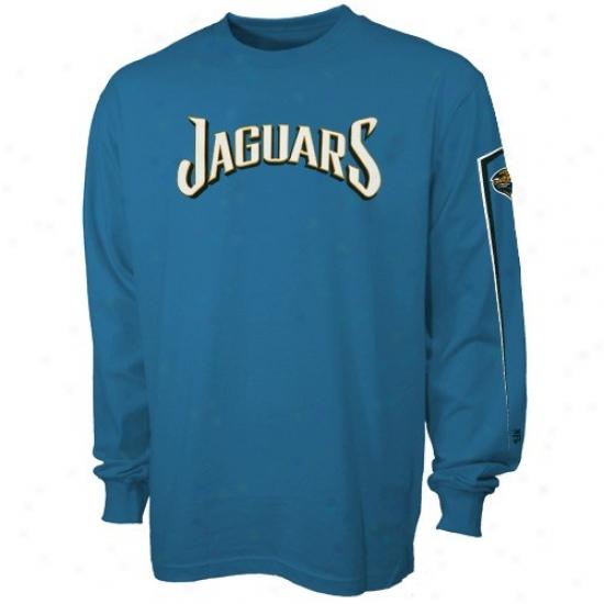 Jacksonville Jaguars Tshirt : Jacksonville Jaguarw Teal Game Fable Long Sleeve Tshirt
