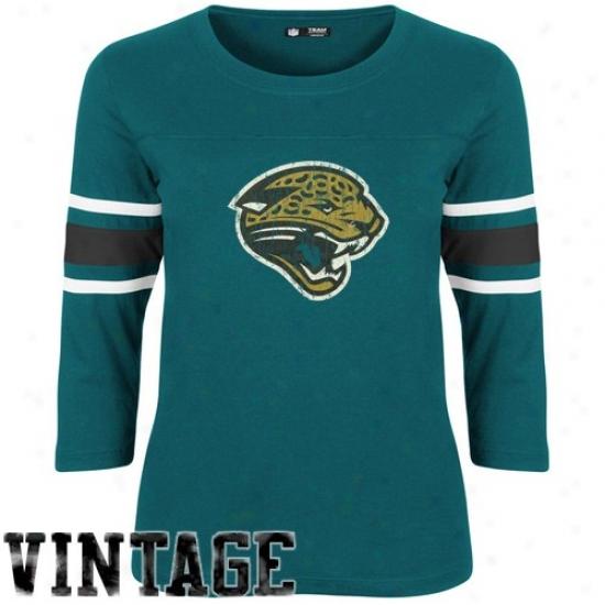 Jacksojville Jaguars Tshirts : Jacksonville Jaguars Ladies Teal Devoted Fan Vintage 3/4 Sleeve Premium Tshirts