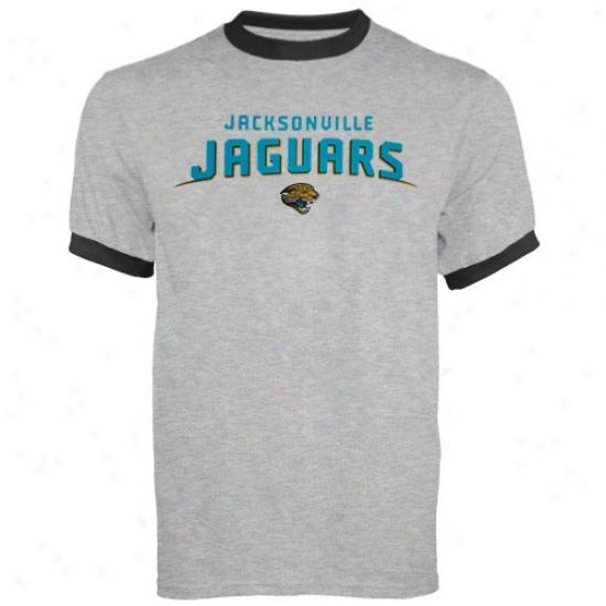 Jacksonvolle Jaguars Tshirts : Reeboi Jacksonville Jaguars Ash Double Arch Ringer Tshirts