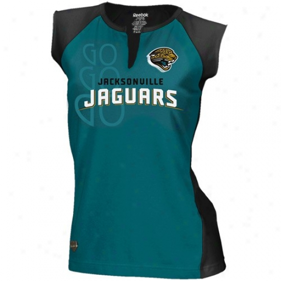 Jacksonville Jaguars Tshirts : Reebok Jacksonvillle Jaguars Ladies Teal-black Two-toned Split Neck Tshirts