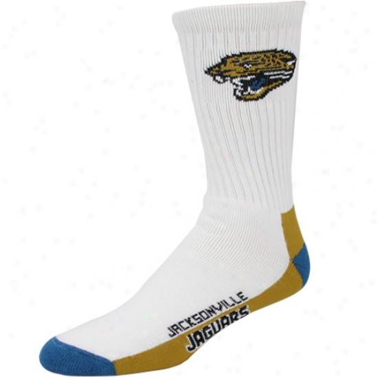 Jacksonville Jaguars White (506) 10-13 Tube Socks