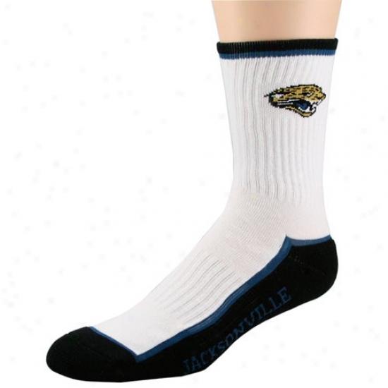 Jacksonville Jaguars White-black Crew Socks