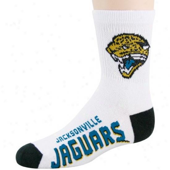 Jacksonville Jaguars Youth White-black Team Logo Tall Socks