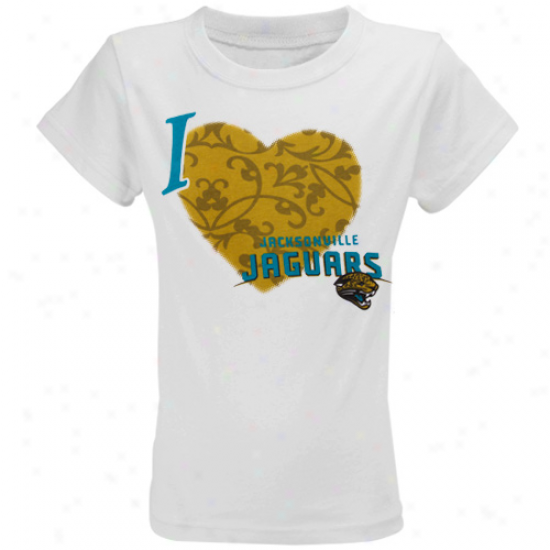 Jags Dress: Reebok Jags Youth Girls White I Love This Team T-shirt