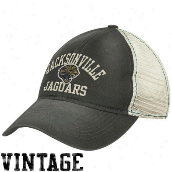 Jags Hat : Reebok Jags Ladies Black-natural Sloufh Mesh Back Adjustable Hat