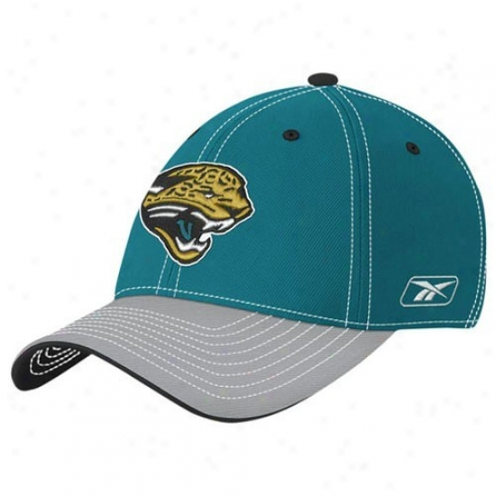 Jags Merchandise: Reebok Jags Youth Teal Player 2nd Habituate Flex Fit Hat