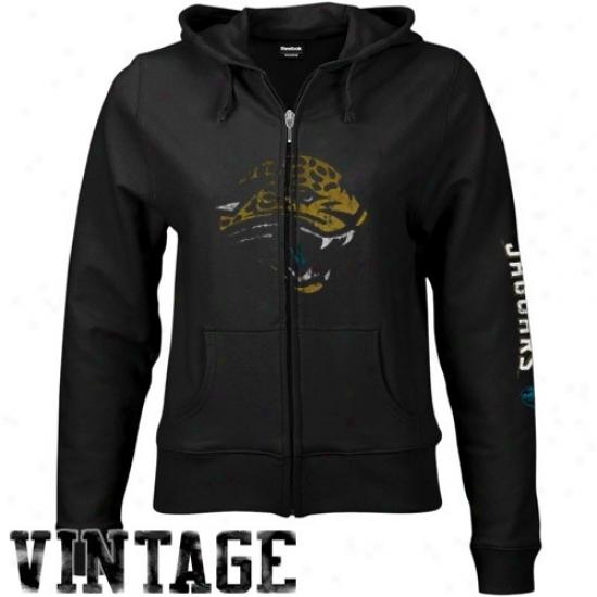 Jags Sweat Shirt : Reebok Jags Ladies Black Giant Logo Loud Zip Vintage Sweat Shirt