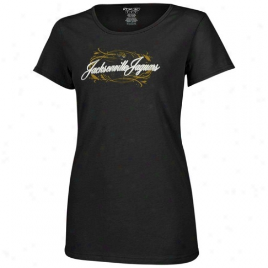 Jags Tees : Reebok Jags Ladies Black Jennifer Slim Fit Tees