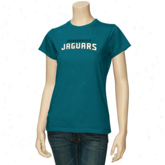 Jags Tees : Reebok Jags Ladies Teal Basic Wordmark Tees