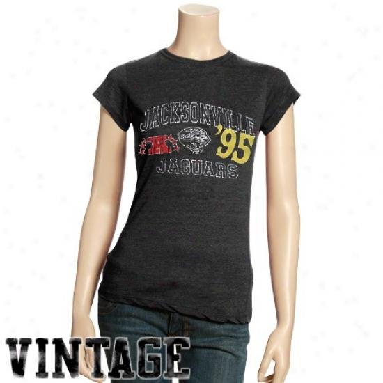 Jags Tshirts : Jags Ladies Charcoal Established Vintage Tri-blend Tshirts