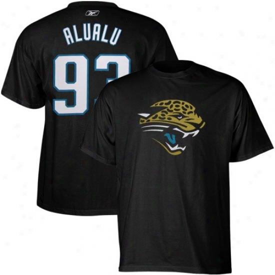 Jaguars Attire: Reebok Jaguars #93 Tyson Alualu Black Scrimmage Gear T-qhirt