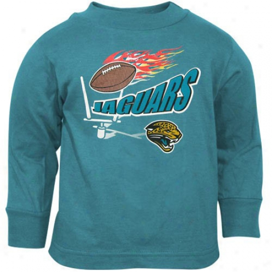 Jaguars Attire: Reebok Jaguars Teal Infant Flaming Football Long Sleeve T--shirt