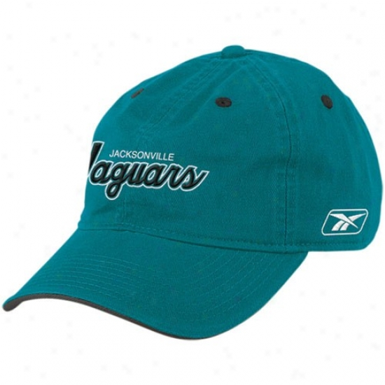 Jaguars Cap : Reebok Jaguars Teal Script Slouch Cap