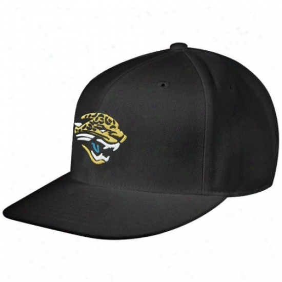 Jaguars Caps : Reebok Jaguars Black Sideline Flat Bill Fitted Caps
