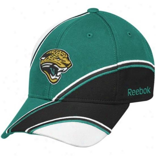 Jaguars Hats : Reebok Jaguars Teal-black Structured Adjustable Hats