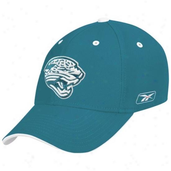 Jaguars Hats : Reebok Jaguars Teal Structured Flex Hats