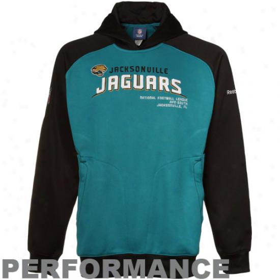 Jaguars Hoody : Reebok Jaguars Teal-black Sideline Performance Pullover Hoody